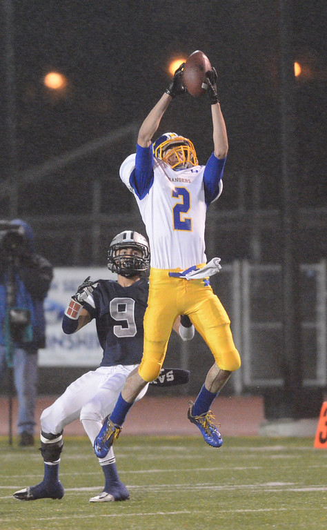 . Nordhoff 2 Brad Sloan intercepts a pass intended for North 9 Michael Jurado in first qtr. North Torrance vs Nordhoff High School CIF Southern Sect. Northwest championship. 12-1-12. Photo by Brad Graverson/LANG