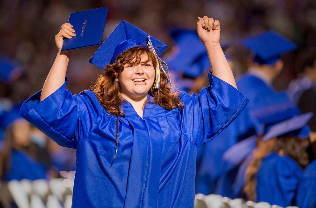 . Ariel Guerrero is all smiles after receiving her diploma during California High graduation at their Whittier campus stadium June 13, 2013.   (SGVN staff photo by Leo Jarzomb)