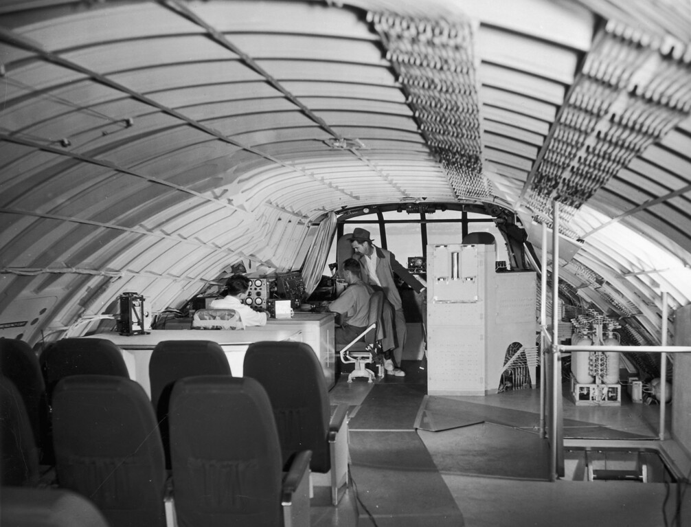 . 2nd November 1947:  Howard Hughes (1905-1976) talking to staff on board his 219 ft flying boat HK-1, known as the \'Spruce Goose\', on the day scheduled for testing when the plane made its only flight.  (Photo by Keystone/Getty Images)