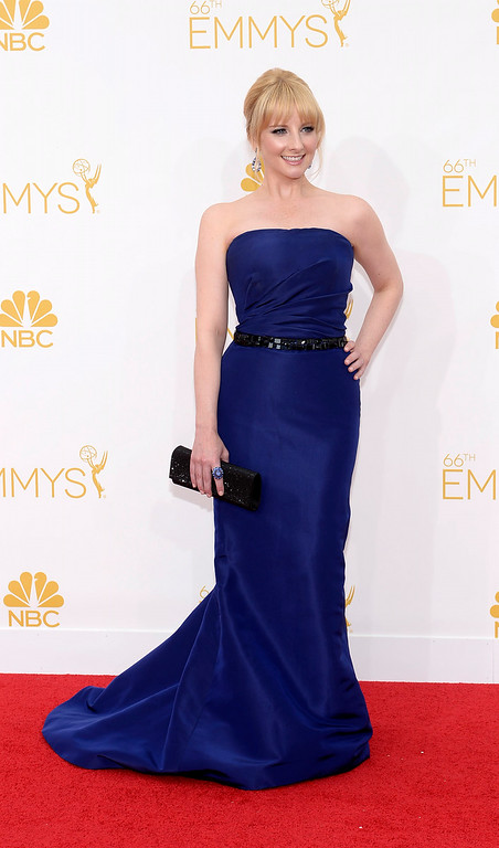 . Melissa Rauch on the red carpet at the 66th Primetime Emmy Awards show at the Nokia Theatre in Los Angeles, California on Monday August 25, 2014. (Photo by John McCoy / Los Angeles Daily News)