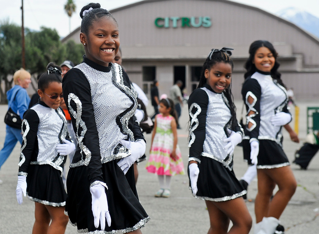 """. Step dancers perform during the 44th annual Black History Parade at the National Orange show in San Bernardino on Saturday, Feb. 2, 2013. Hosted by the Southern California Black chamber of Commerce, this year\'s parade theme marked tribute to the 50th anniversary of Dr. Martin Luther King Jr. speech, \""""I Have a Dream.\""""  (Staff file photo/The Sun)"""
