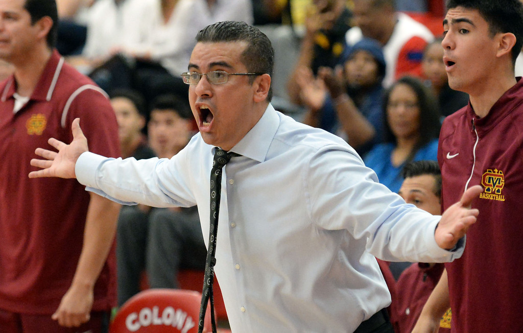 . Cantwell head coach George Zedan in the first half of a CIF Southern California Regional Division IV basketball game against Bishop Montgomery at Colony High School in Ontario, Calif., on Saturday, March 22, 2014.  (Keith Birmingham Pasadena Star-News)