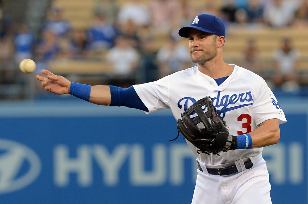 . Dodgers 2nd baseman Skip Schumaker throws out a Washington Nationals runner May 13, 2013 in Los Angeles, CA.(Andy Holzman/Staff Photographer)