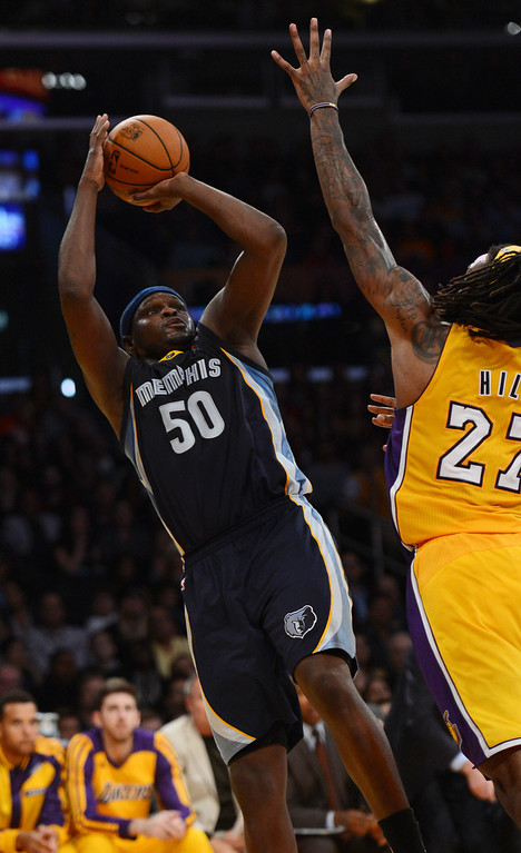 . The Grizzlies� Zach Randolph #50 shoots as the Lakers� Jordan Hill #27 defends during their game at the Staples Center in Los Angeles Friday, November 15, 2013. The Grizzlies beat the Lakers 89-86.  (Photo by Hans Gutknecht/Los Angeles Daily News)