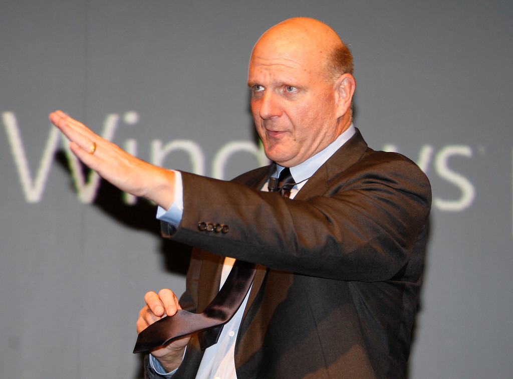 . Steve Ballmer, CEO of Microsoft Corp, gestures during the presentation of a new mobile phone, in Milan, Italy, Friday, Oct. 9, 2009. (AP Photo/Luca Bruno)