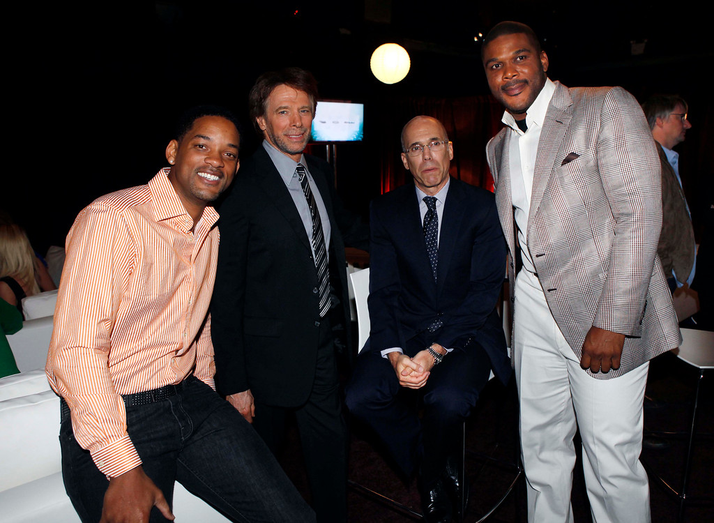. Will Smith, left, Jerry Bruckheimer, second from left, Jeffrey Katzenberg, second from right, and Tyler Perry pose for a picture at the Turner Entertainment Network\'s Upfront event in New York, Wednesday, May 20, 2009.  (AP Photo/Seth Wenig)