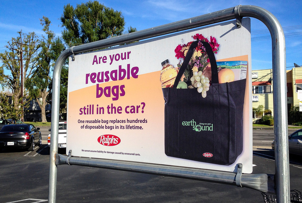 . A bag reminder in the parking lot of the Ralphs store in North Hollywood on January 2, 2014.  The plastic bag ban took effect in the city of Los Angeles on Monday.  Grocery stores will now offer paper bags for ten cents or customers must bring their own bags.  ( Photo by David Crane/Los Angeles Daily News )