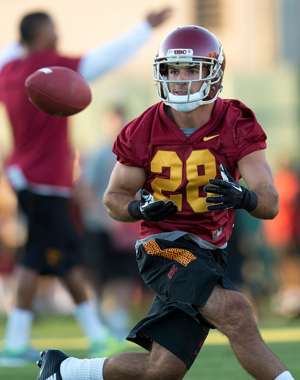 . Christian Tober #28 during practice at USC, Howard Jones Field on the USC campus in Los Angeles, Monday, August 4, 2014. (Photo by Hans Gutknecht/Los Angeles Daily News)