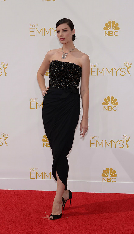 . Jessica Pare on the red carpet at the 66th Primetime Emmy Awards show at the Nokia Theatre in Los Angeles, California on Monday August 25, 2014. (Photo by John McCoy / Los Angeles Daily News)