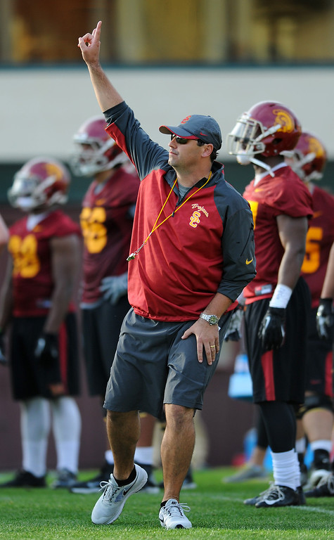 . USC head coach Steve Sarkisian signals a drill at spring practice, Tuesday, March 11, 2014, at USC. (Photo by Michael Owen Baker/L.A. Daily News)
