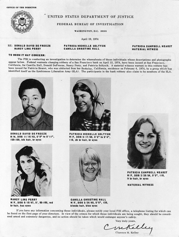 . This flyer on Symbionese Liberation Army members Donald David DeFreeze, Patricia Michelle Soltysik, Nancy Ling Perry and Camila Christine Hall and kidnapped newspaper heiress Patricia Campbell Hearst was released by the San Francisco office of the FBI today, April 22, 1974. The bulletin says DeFreeze, Soltysik, Perry and Hall are wanted for Bank robbery and Miss Hearst is sought as a material witness as result of the SLA\'s recent San Francisco bank holdup. (AP Photo/ho)