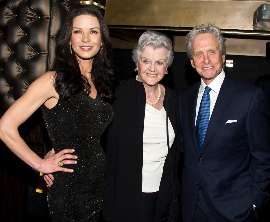 . Honoree Michael Douglas, right to left, Angela Lansbury and Catherine Zeta-Jones attend the Eugene O\'Neill Theater Center\'s 12th Annual Monte Cristo Awards in New York, Monday, April 16, 2012. (AP Photo/Charles Sykes)
