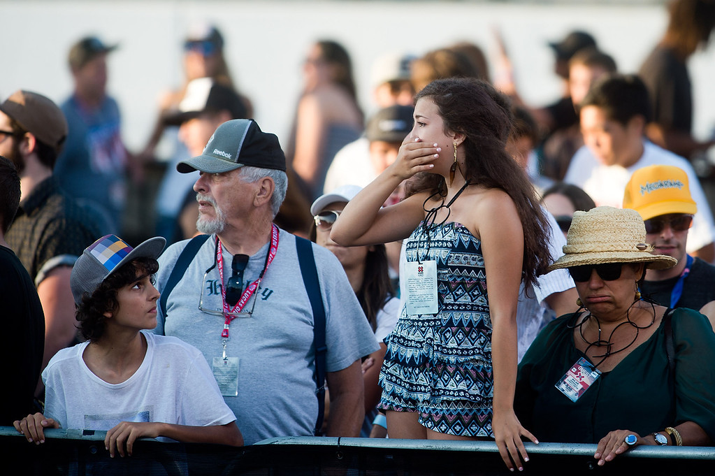 . A female audience reacts after Bob Burnquist crash-landed on his face in the America\'s Navy Skateboard Big Air final during X Games Los Angeles at Irwindale Event Center in Irwindale on Thursday, August 1, 2013. (SGVN/Staff photo by Watchara Phomicinda)
