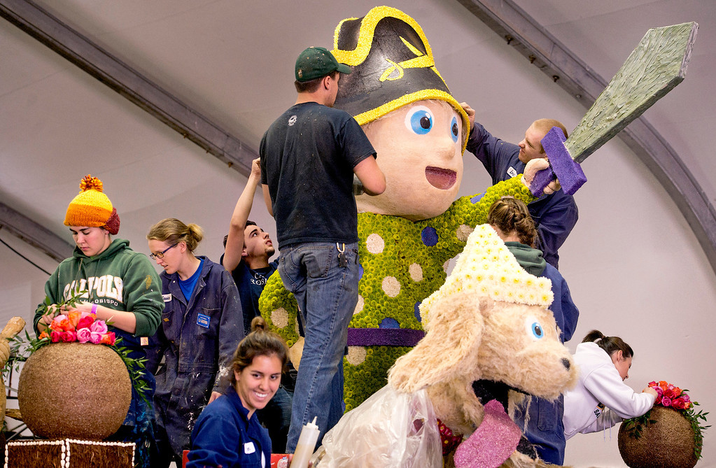 . Cal Poly students and volunteers apply flowers to the university\'s Rose Parade float which is a joint venture between the Pomona and San Luis Obispo campuses at the Brookside Pavilion in Pasadena, Calif. Dec. 30, 2013.   (Staff photo by Leo Jarzomb/Pasadena Star-News)