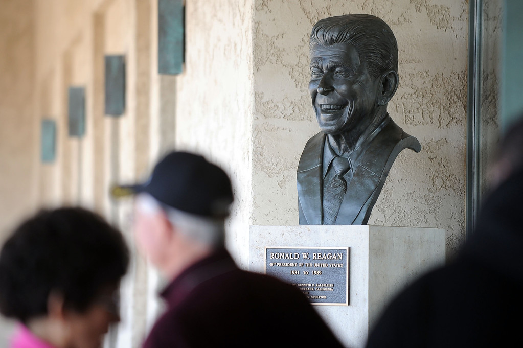 . File - A bust of President Ronald Reagan greets visitors during an event marking the 102nd Anniversary of Presidential Ronald Reagan\'s Birthday Wednesday, February 6, 2013 at the Ronald Reagan Presidential Library.  A presidential wreath was laid at Reagan\'s resting place and former New York mayor Rudy Giuliani spoke during the event.(Andy Holzman/Los Angeles Daily News)