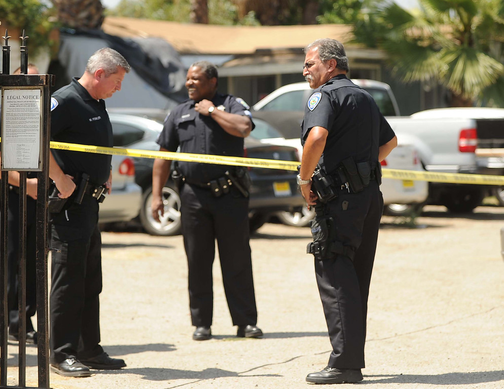 . Authorities are investigating the shooting of a 63-year-old man who was shot in the head Thursday May 24, 2013 in the 400 block of Norman Road in San Bernardino. (LaFonzo Carter/ Staff Photographer)