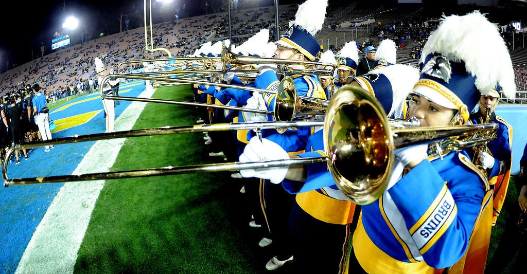 . UCLA Bruins band performs prior to their college football game against the Washington Huskies in the Rose Bowl in Pasadena, Calif., on Friday, Nov. 15, 2013. 