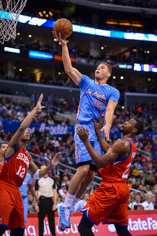 . Clippers� Blake Griffin goes up for two points during first half action at Staples Center Sunday.  ( Photo by David Crane/Los Angeles Daily News )