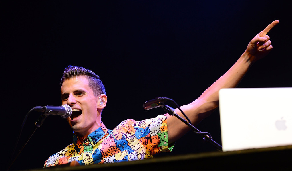 . UNIVERSAL CITY, CA - AUGUST 16:  Mike Tompkins performs at the Gibson Amphitheatre on August 16, 2013 in Universal City, California.  (Photo by Mark Davis/Getty Images)
