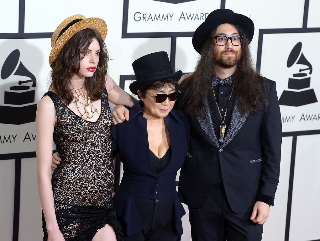 . Charlotte Kemp Muhl, Yoko Ono and Sean Lennon arrive at the 56th Annual GRAMMY Awards at Staples Center in Los Angeles, California on Sunday January 26, 2014 (Photo by David Crane / Los Angeles Daily News)