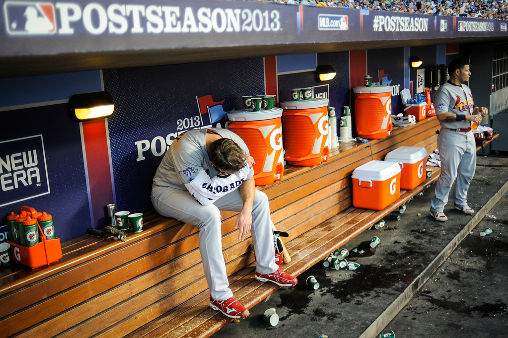 . Cardinals\' Adam Wainwright rests his arm in game 3 of the NLCS Monday October 14, 2013 ( Photo by Hans Gutknecht/Los Angeles Daily News )