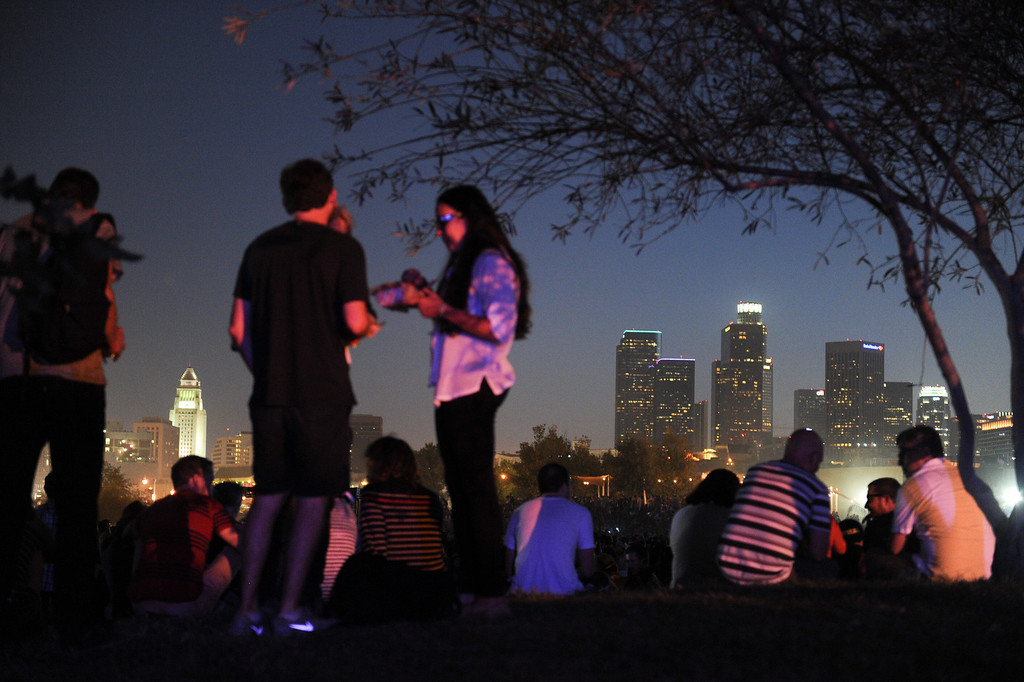 . People relax with a view of downtown at FYF Fest, Saturday, August 24, 2013. (Michael Owen Baker/L.A. Daily News)
