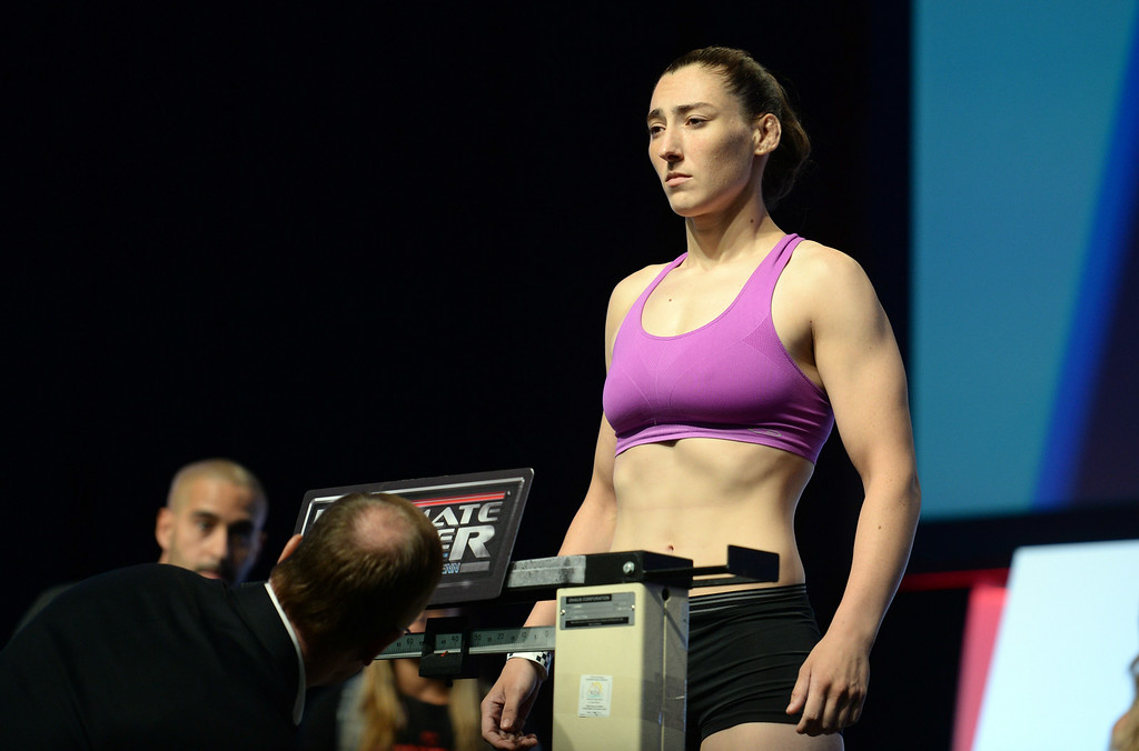 . Alexis Dufresne during weigh-ins for the TUF 19 Finale: Team Edgar vs Team Penn. (Photo by Hans Gutknecht/Los Angeles Daily News)