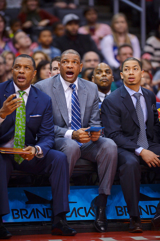 . Doc Rivers watches as the Clippers take on the 76ers at Staples Center Sunday.  The Clippers defeated the 76ers 124-78.  ( Photo by David Crane/Los Angeles Daily News )