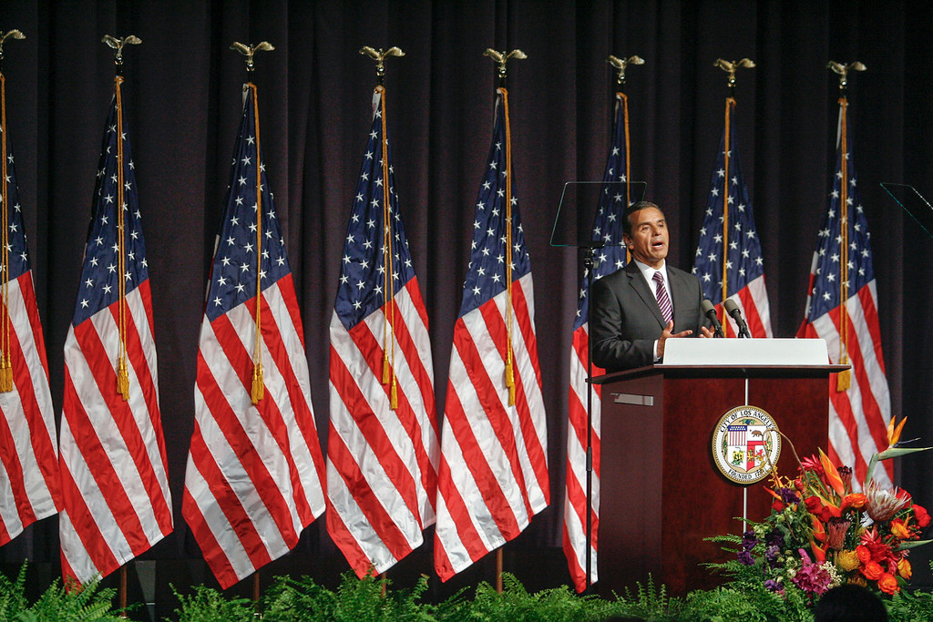 . Los Angeles Mayor Antonio Villaraigosa gives his  State of the City address Wednesday at Paramount Studios.   (David Crane/L.A. Daily News)
