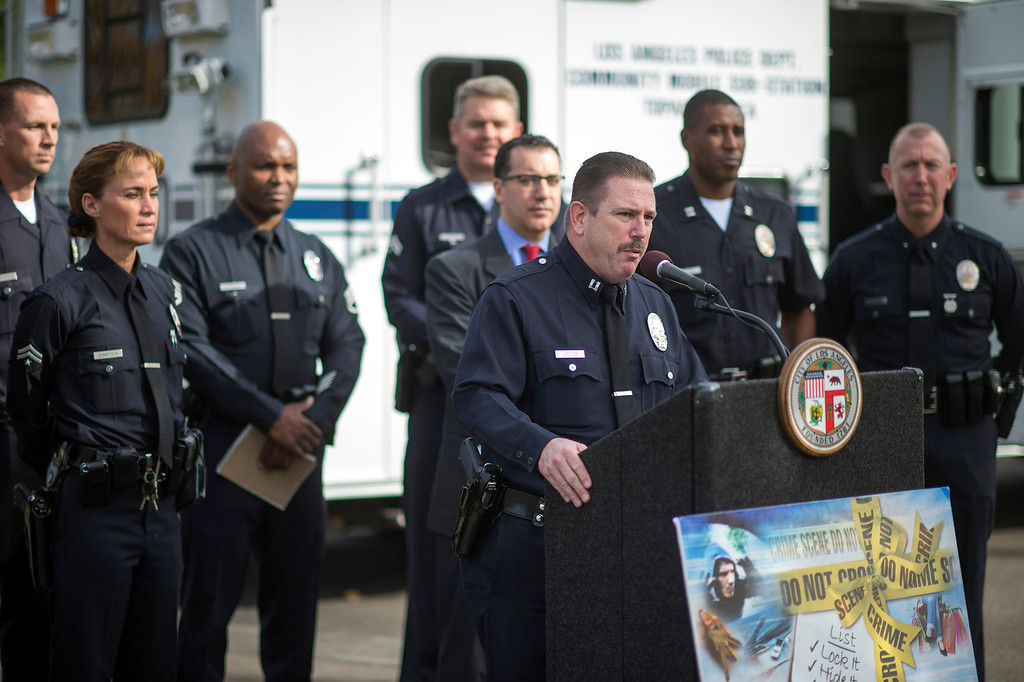 . Captain Joel Justice, Topanga Patrol Division, talks to media during a press conference in Woodland Hills Monday, December 2, 2013. The press conference was held to to help people avoid becoming a victim of car burglary this holiday shopping season. (Photo by Hans Gutknecht/Los Angeles Daily News)
