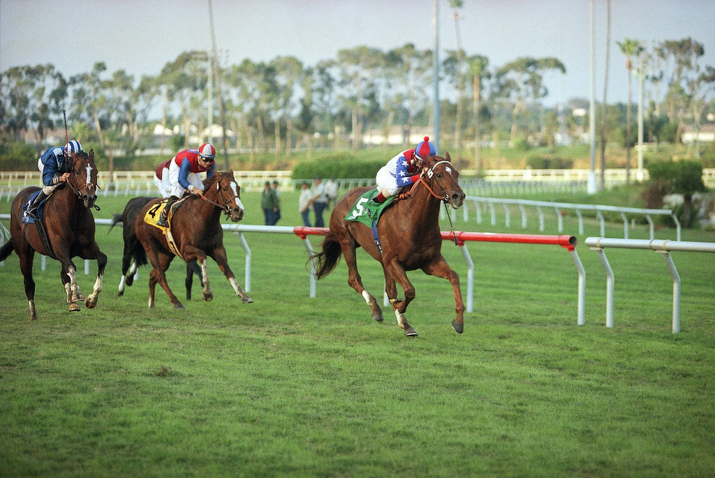 . Geri (5) with jockey Jerry Bailey aboard wins the $300,000 Citation Handicap 1-1/8 mile turn race on Saturday, Nov. 29, 1997 at Hollywood Park in Inglewood, Calif. Kent Desormeaux riding Mufattish (3), left, placed and Corey Nakatani aboard Martiniquais (4) finished third. (AP Photo/Damian Dovarganes)