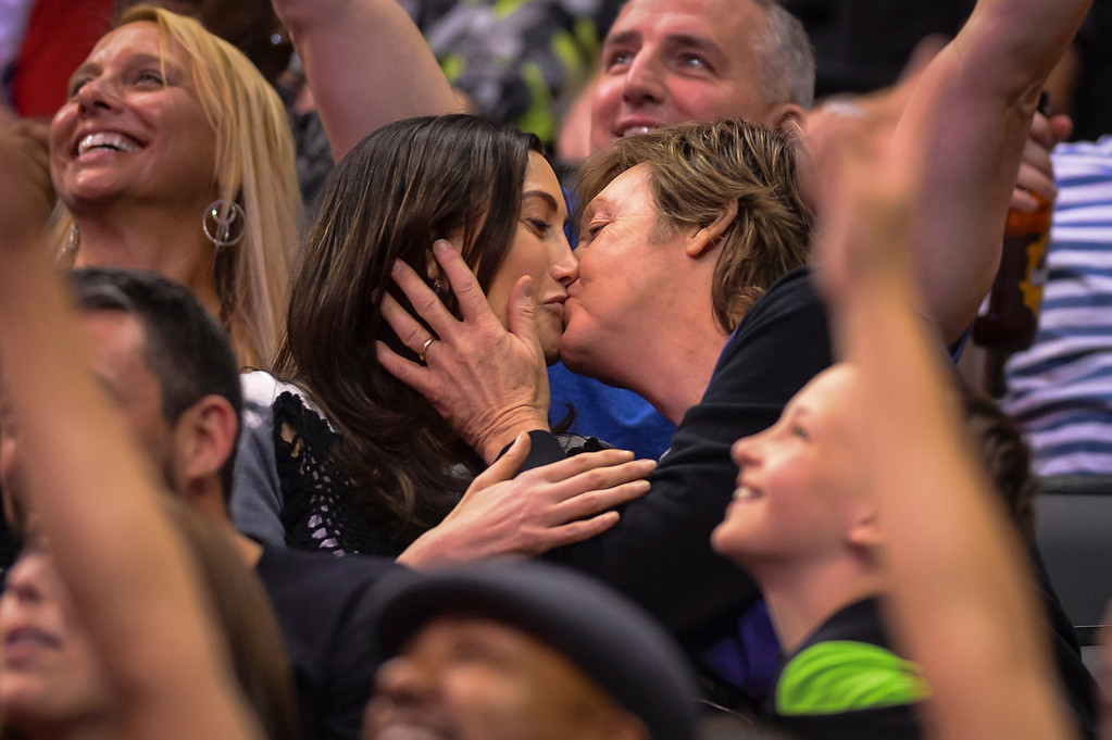 ". Sir Paul McCartney and his wife Nancy Shevell kiss as the ""kiss camera\"" goes on them at the Clippers-Lakers game at Staples Center Sunday April 6, 2014. Clippers defeated the Lakers 120-97.  ( Photo by David Crane/Los Angeles Daily News )"