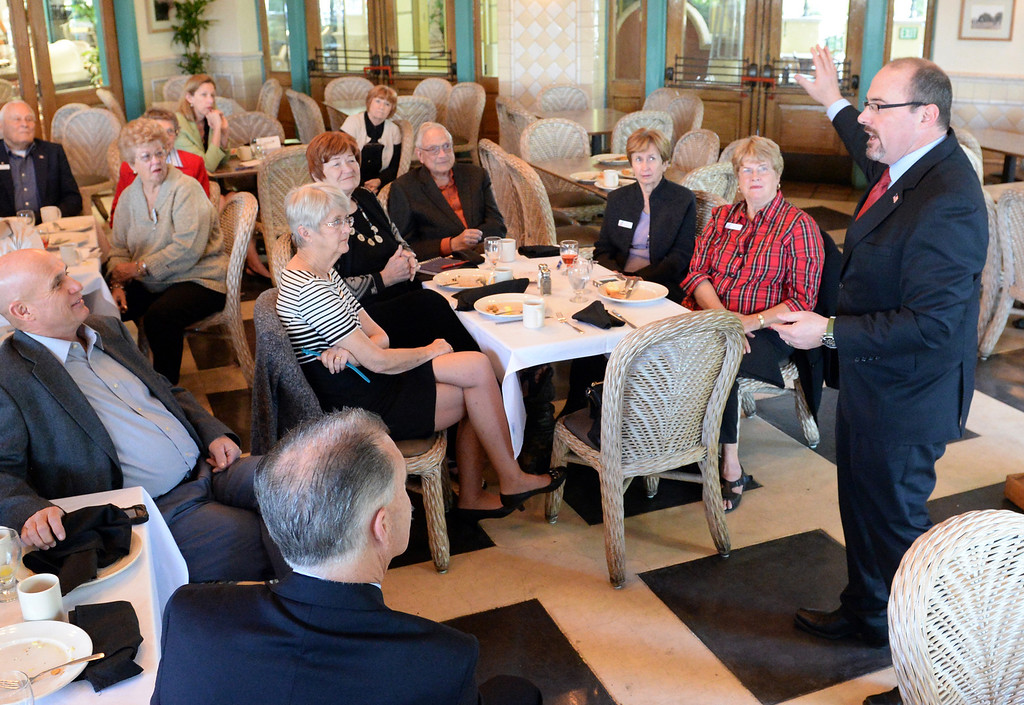 . Assemblyman Tim Donnelly, Republican candidate for governor, speaks to members of the Southeast Chapter of the Los Angeles County Lincoln Club at Geezers restaurant in Santa Fe Springs on Friday January 3, 2014. (Staff Photo by Keith Durflinger/Whittier Daily News)
