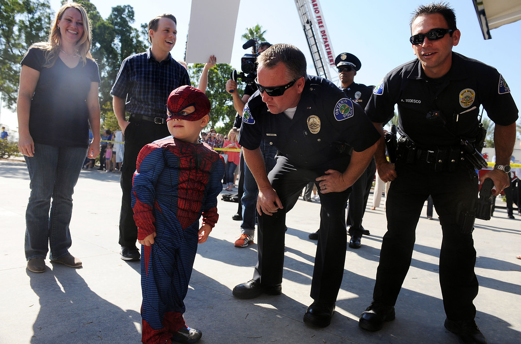 . (Will Lester/Inland Valley Daily Bulletin) Jacob Long, 5 from Mira Loma, dream of fighting along side his favorite superhero, Spiderman, came true Thursday August 22, 2013 by the Make-A-Wish Orange County/Inland Empire along with assistance from the Ontario police and fire departments. At 15 months Jacob was diagnosed with an immune deficiency disease and has had to have 2 bone marrow transplants to cure it.