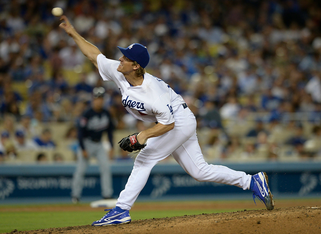 . Zack Greinke pitches in the 7th inning. The Dodgers played host to the Atlanta Braves in a game played at Dodger Stadium in Los Angeles, CA. 7/30/2014(Photo by John McCoy Daily News)