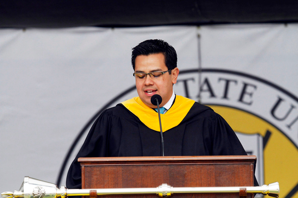 . Carlos Illingworth, Jr., President of Alumni Association, during the  California State University, Los Angeles, Sixty-Sixth Graduate and Undergraduate Commencement Ceremony, at California State University Athletic Stadium, in Los Angeles, Saturday, June 15, 2013. (Correspondent Photo by James Carbone/SXCITY)