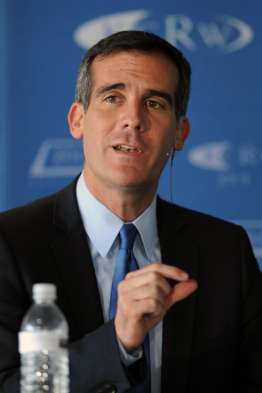 . Mayoral candidate Eric Garcetti makes a point at the debate with Wendy Greuel at the Peterson Automotive Museum in Los Angeles, Tuesday, May 7, 2013. (Michael Owen Baker/Staff Photographer)