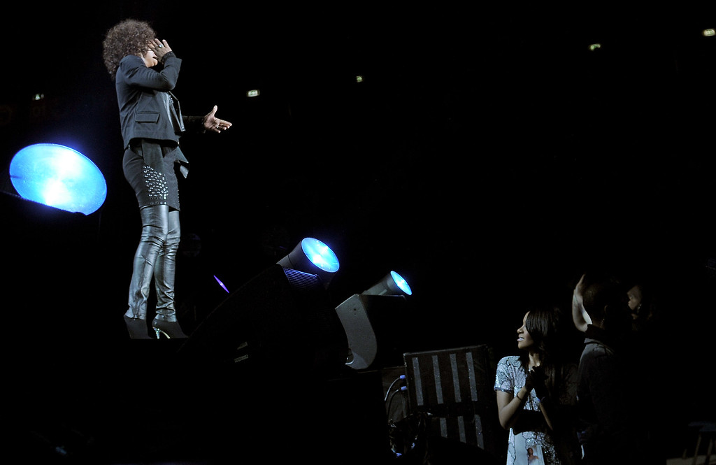 . Whitney Houston daughter Bobbi Kristina (R) attends the concert of Whitney Houston held at Mediolanum Forum on May 3, 2010 in Milan, Italy. (Photo by Vittorio Zunino Celotto/Getty Images)