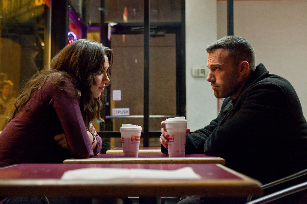 """. In this publicity image released by Warner Bros., Rebecca Hall, left, and Ben Affleck are shown in a scene from \""""The Town.\"""" (AP Photo/Warner Bros., Claire Folger)"""