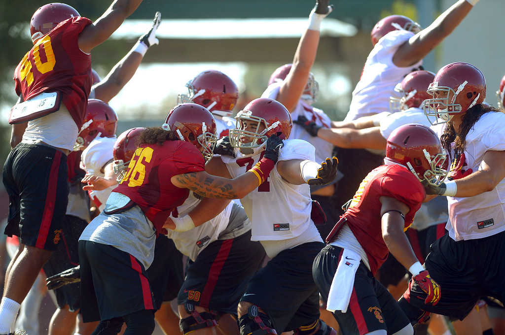 . The USC football team holds a practice at the Howard Jones Field at USC Monday August 19, 2013.  The Trojans start the season on August 29th with a game against Hawaii.(Andy Holzman/Los Angeles Daily News)
