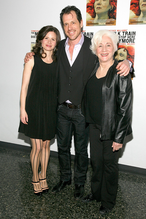 ". NEW YORK, NY - JANUARY 30:  (L-R) Maggie Lacey, Darren Pettie and Olympia Dukakis attend the Broadway opening night of ""The Milk Train Doesn\'t Stop Here Anymore\"" at the Laura Pels Theatre on January 30, 2011 in New York City.  (Photo by Andy Kropa/Getty Images)"