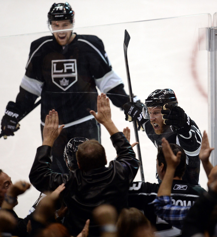 . The Kings� Tyler Toffoli #73 reacts after scoring a goal in the second period during Game 3 of the Western Conference finals against the Blackhawks at the Staples Center on Saturday, May 24, 2014. (Photo by Hans Gutknecht/Los Angeles Daily News)