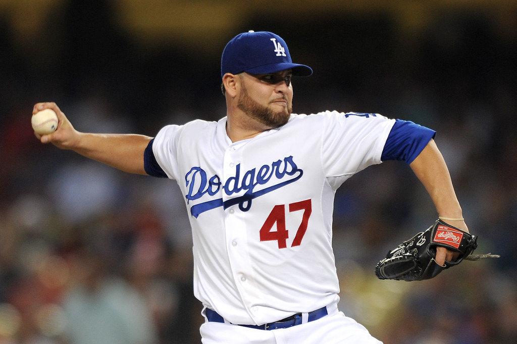 . Dodgers starting pitcher Ricky Nolasco only gave up two hits in his eight innings against the Red Sox, Friday, August 23, 2013. (Michael Owen Baker/L.A. Daily News)