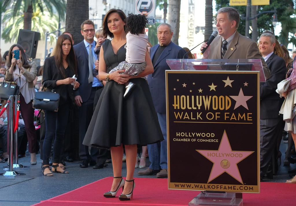 . Actress Mariska Hargitay and her daughter, Amaya, attend a ceremony honoring Hargitay with a star on the Hollywood Walk of Fame on November 8, 2013 in Hollywood, California.              (JOE KLAMAR/AFP/Getty Images)