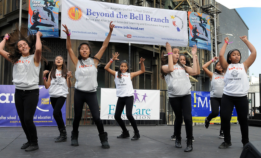 """. Girls from McClay Middle School in Pacoima performa a dance routine. LAUSD\'s program \""""Beyond The Bell,\"""" held a talent show and competition on the Paramount Studios Lot. Stages were set among streets replicating New York City, where kids from 49 Junior High and High Schools danced, sang, played instruments and gave spoken work performances to compete for more than $40,000 in scholarships. Hollywood , CA 5/11/2013(John McCoy/LA Daily News)"""