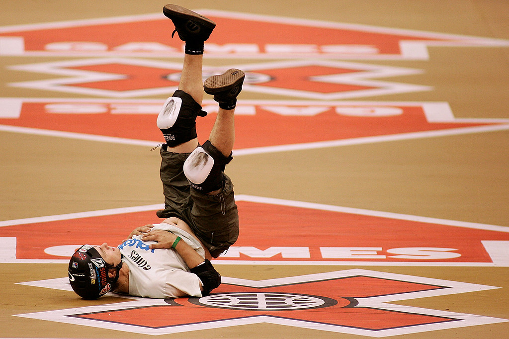 . Rune Glifberg of Denmark couldn\'t stay on his board in the Skateboard Vert Men\'s Final. The Eleventh X Games at the Staple Center in Los Angeles,Calif., August 5. 2005. (Pasadena Star-News Staff Photo Keith Birmingham/SXSports)