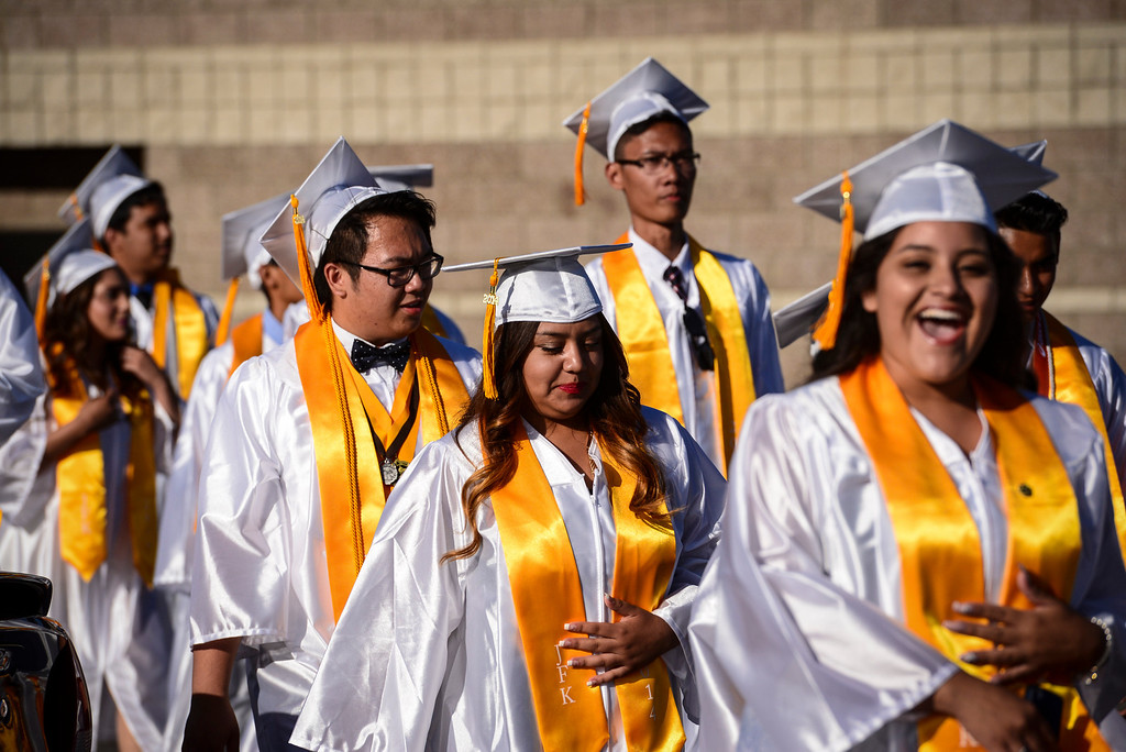 . Kennedy High school graduates march in to graduation Thursday, June 5, 2014.   ( Photo by David Crane/Los Angeles Daily News )