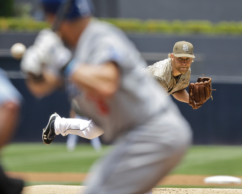 . San Diego Padres starting pitcher Andrew Cashner pitches to the Los Angeles Dodgers in the first inning of a baseball game in San Diego, Sunday, June 23, 2013. (AP Photo/Lenny Ignelzi)
