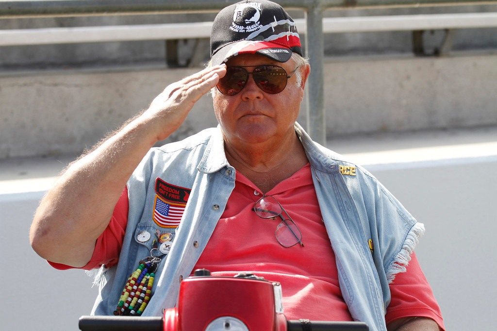 """. Larry Stuppy, of Huntington Beach, a Vietnam Veteran Air Force, salutes during the Vietnam Veterans Memorial \""""The Wall That Heals\"""" Closing Ceremony event, at La Habra High School, in La Habra, Sunday, July 14, 2013. (SGVN/Correspondent Photo by James Carbone)"""