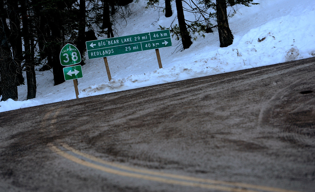 . Fugitive Christopher Dorner traveled south on Highway 38, and turned right on Glass Road toward what would become his last stand in Seven Oaks as seen February 15, 2013. (Staff photo by Gabriel Luis Acosta/The Sun)